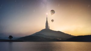 3840x2160 Wallpaper tower, hill, lake, air balloons, starry sky, meteors