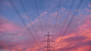 3840x2160 Wallpaper tower, wires, construction, sunset, sky