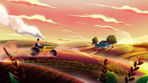 3840x2160 Wallpaper tractor, field, art, agriculture